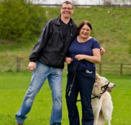 couple and their particular puppy enjoying the gsdr walk