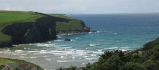 View of Mawgan Porth beach plus the shoreline from Thorncliff